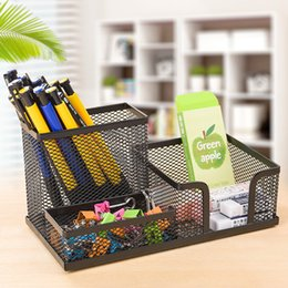 Detentores estacionários on-line-2020 Hot Venda artigos de papelaria metal Desk Stationary organizer Desk Pencil Holder metal Papelaria Escolar