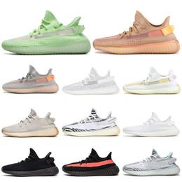 Crème pour les hommes en Ligne-Adidas Yeezy Boost 350 v2 Shoes Argile Glow in the Dark V2 Chaussures De Course True Form Hyperspace Static Réfléchissant Sesame Hommes Femmes Formateur Sports Sneakers 36-48
