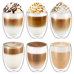 Bicchieri creativi a doppia parete da 350 ml / 11,9 oz bicchieri di vetro Latte Cappuccino Bicchierini da caffè per succhi di latte da bicchieri di cristallo di cognac fornitori