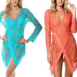 51ccc1d32f5 Womens Beach Long Sleeves Swimsuit Cover Up Sheer Floral Lace Solid Color Open  Front Cardigan Belted Wrap Asymmetric Slim V-Neck
