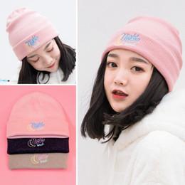 2019 gorras de moda corea Bentoy Rosa Luna Rosa Cap Ins astilla sombrero muchachas de la manera gorra de Corea del fresco de la muchacha Skullies Gorros Corea Harajuku Sombreros gorras de moda corea baratos