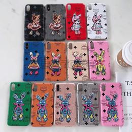 11 para IPhone caja del conejo de teléfono Pro 11Pro Max fibra del bordado de la historieta por IPhoneX X Max Xr cubierta 8 7 8Plus 7plus TPU Textura 6 6s Plus desde fabricantes