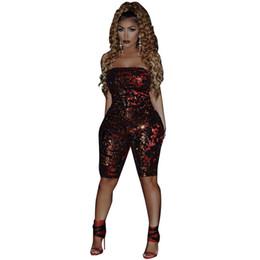 Macacão de lantejoulas para mulheres on-line-Macacão sem alças corpo das mulheres femme macacão de lantejoulas sexy verão macacão mulheres sem encosto vermelho vinho bodysuits playwear clubwear