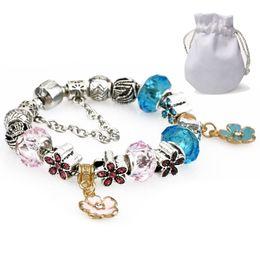 bijoux en diamant bleu Promotion Bleu Rose Perles De Cristal Bracelets Femmes De Luxe Designer Argent Plaqué Fit Pandora Manchette Bracelets Diamant Bracelets Fleur Pendentif Bijoux P36