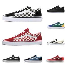Zapatos casuales de lona online-2019 vans zapatillas de lona de diseñador de alta calidad skool sk8 hi hi en hombres y mujeres zapatos de skateboard CHECKERBOARD moda plana casual zapato