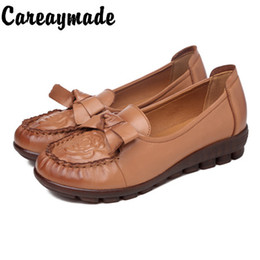 scarpe casual scarpe in pelle pura Sconti Careaymade-Autumn nuove madri cuoio genuino di singoli pattini bassi piani del tallone soli pattini fatti a mano puri molli delle donne sole, pattini casuali