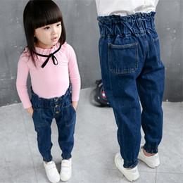 jeans de cintura alta para niños Rebajas 2016 Jeans otoño muchachas del resorte de los pantalones vaqueros para niños niños del bebé muchachas de los pantalones de mezclilla ocasionales de los pantalones de cintura alta para niños Harem 3-8y