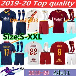 roma fußball-trikot Rabatt 2019 2020 AS Roma Hauptfußball Jersey Kits 19 20 DZEKO TOTTI rom Shirt dritte Fußball-Hemd Kit De Rossi PEROTTI ZANIOLO Uniformen S-2XL