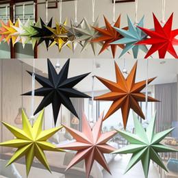Estrelas papel de natal on-line-New Nine Angles Paper Star Decoração de Casa Pendurado Estrelas Lanterna Para Festa de Natal Shopping Mall Decoração de Aniversário 30 cm, 45 cm, 60 cm WX9-1196
