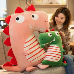 brinquedos de dinossauro rosa Desconto Novo Macio Lindo Dinossauro Boneca de Pelúcia Rosa / Verde Recheado Dinossauro Brinquedo Crianças Animais Brinquedos de Pelúcia Almofada de Travesseiro