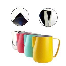 Lanciatore di latte in acciaio online-Brocca in acciaio inox Brocca per caffè Brocca per il latte Montalatte Latte Art Attrezzo in schiuma di latte Caffè caldo Latte Espresso Brocca in acciaio inox
