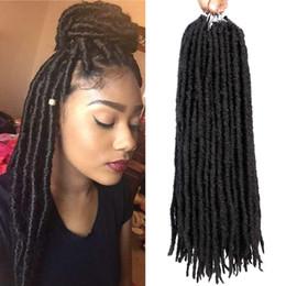 Torsione dei capelli di treccia online-1Packs 24root dea Faux Locs Crochet Hair 18inch treccia sintetica diritta Intrecciare le estensioni dei capelli Havana Mambo Crochet trecce Dreadlocks