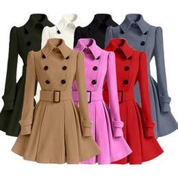2019 grabenmantelschnalle Mode Frauen Kleidung Frauen Trenchcoats Winter Gürtelschnalle Trenchcoat Zweireiher Vintage Mantel Lässig Windjacke Wollmischung Outwear günstig grabenmantelschnalle