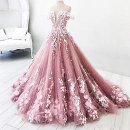 fúcsia prata vestidos de baile Desconto 2019 Nova Princesa Vestidos de Baile Longo Fora Do Ombro Apliques de Renda Comprida Vestidos de Noite Quinceanera Vestidos Custom Made Nupcial Vestido de Visitante
