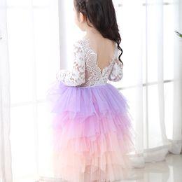Roupas roxas para crianças on-line-crianças de varejo do desenhador vestido roxo das meninas Gradiente vestido de princesa fio Lace costura plissado plissado vestidos de roupas para crianças boutique