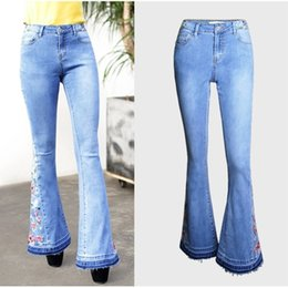 cce9795ef81be ZOUHIRC Sexy Stretching Femmes Jeans Taille Haute Flare Pants Floral  Broderie Bell Bottom Jeans Skinny Jeans Femmes Pantalons Pantalons