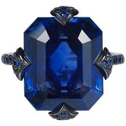 2019 jóia de moda americana de luxo europeus Mulheres antigas Jóias 14 kt Preto Gold Filled Natural Gemstone Azul Anel de Safira Anéis de Noivado de Casamento Da Noiva Tamanho 5-12