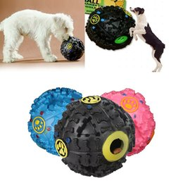 Juguetes duros online-Juguetes para perros Trumpet Sound Leakage Food Ball Juguete para perros Mascota Dispensador de alimentos Al aire libre Fácil Llevar Entrenamiento Cachorro Duro Juguetes para perros
