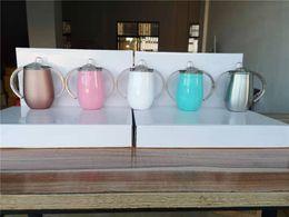 Tazze in acciaio inossidabile da 10 once tazze a doppio manico bicchiere da vino bottiglia a doppia parete isolata sottovuoto con coperchi per bere caffè tè latte da maniglie di tazze da bere fornitori