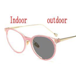 839712f428e47 Sun Photochromic Finished Women Myopia Eyeglasses cat Frame with color lens  Sun glasses optical Myopia Eyewear Male FML