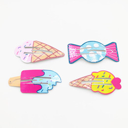 cute sweet cartoons Promo Codes - Korean cute Cartoon girls hair clips sweets ice cream kids Barrettes Baby BB Clip girls hair barrette designer hair accessories A4644