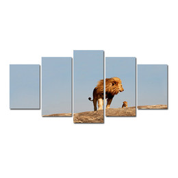 lion canvas print Coupons - 5 Pcs Combinations HD wilderness Desert lion mother and Son shanmoUnframed Canvas Painting Wall Decoration Printed Oil Painting poster