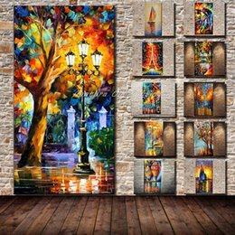 2019 barco al atardecer pintura al óleo Mintura gran tamaño pintado a mano cuchillo de paleta lámpara de calle árbol paisaje pintura al óleo sobre lienzo abstracto moderno hogar decoración de la pared fotos