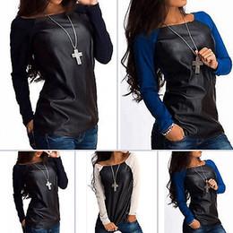 Camisetas de cuero de las mujeres online-Cuero atractivas para mujer de manga larga camiseta de algodón y tapas ocasionales remiendo de la PU cuero femenino de la camiseta para las mujeres