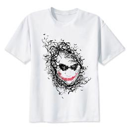 Weiß über hemd online-Hillbilly Unisex Über Größe Damen Herren T-shirts Tops Clown Gedruckt Lächeln In Der Nacht Wald Lässig Modal Weiß Weibliches T-shirt