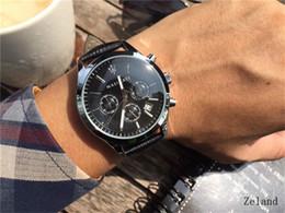 2019 мужские наручные часы Знаменитый логотип Кварцевые часы Six Needle Design Мужчины Роскошные часы Все вспомогательные циферблаты Работа многофункциональный Полный календарь наручные часы дешево мужские наручные часы