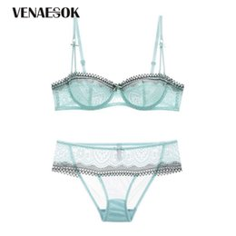 38d front closure bras Coupons - Green Lace Lingerie Transparent Bras Ultrathin Half Cup Bra Set Plus Size Hollow Out Brassier Underwear Sets Women Sexy Black