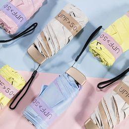 paraguas plegable sólido Rebajas Mujeres Hombres Portable UV Protect Umbrella Mini Pocket Compact 5 Plegable Sun Uv Rain Anti Small Solid Black Coating Parasol