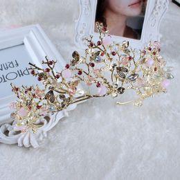 Canada Baroque Coréen Or Cristal Princesse De Mariée Couronnes Et Diadèmes Reine Strass Main Accessoires De Mariage De Bal D'anniversaire Fête Bijoux F328 Offre
