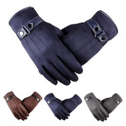 41d2bffd8bf27 Trendy Touch Screen PU Leather Men Gloves Winter Warm Gloves for Driving  Cycling