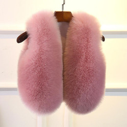 ткани искусственные меха Скидка Детский жилет мода из искусственного меха лисы жилет куртка ткань одежда зима теплая искусственного меха талии пальто