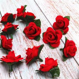 Decorazioni fatte a mano online-Linman Red Small Rose Flower Mini Handmade raso nastro rosa testa di nozze Scrapbooking Decorazione Accessori per abbigliamento