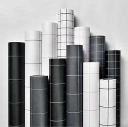 2019 обои для комнат просторные Обои самоклеящаяся квадратная сетка черно-белый простой ПВХ водонепроницаемый стикер стены спальня гостиная ремонт стены обои 60 см дешево обои для комнат просторные