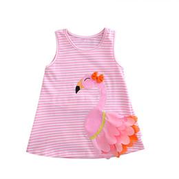 vestido menina cisne Desconto Criança Bonito Crianças Baby Girl mangas listradas 3D Swan Hetero vestido de festa férias Vest vestidos de verão rosa roupa Outfit 0-4T