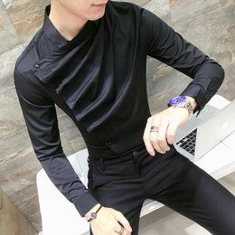 9d5e3dd8fed New Fashion Men Shirt Korean Style Clothing Mandarin Collar Mens Shirts  Slim Fit Black White Shirts Night Club Outfits Shirt Men