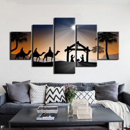 2019 pinturas do deserto Poster Paintings Arte em tela cópia do cartaz de 5 Painéis deserto egípcio Camelo Imagem Home Decor Wall Art pinturas do deserto barato