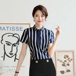blusa blanca de manga corta Rebajas 2019 Verano Elegante Mujer Azul Blusas de Rayas Blancas Camisa de manga corta Office Lady Work Wear OL Tops Ropa formal Botones