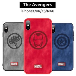 couverture en silicone pour fers Promotion EGEEDIGI Original marque cas de téléphone pour iphone X XS XR XS MAX capitaine Marvel The Avengers tissu haute qualité couverture arrière Iron Man funda