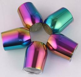 Copos de 9 oz on-line-Vacuum 9 oz uns copos de ovo de aço inoxidável Tumbler do arco-íris do vidro de vinho isolados Canecas Partido Copos Com Leakproof Lid TTA2132