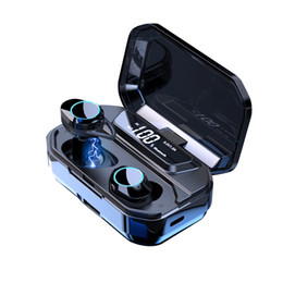 2019 drahtlose led-anzeigen G02 TWS 5.0 Bluetooth 6D Stereo Kopfhörer Drahtlose Kopfhörer IPX7 Wasserdichte Kopfhörer 3000mAh LED Display Smart Power Bank günstig drahtlose led-anzeigen