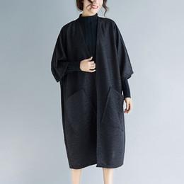 Тонкая женская траншея онлайн-Fashion Spring Autumn Loose Thin Cardigan Women Batwing Sleeve Long Trench Casual Big Pockets Black/Brown Coats