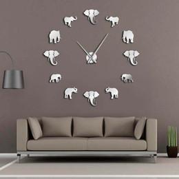 Большие современные зеркала онлайн-37 дюймов джунгли животные слон DIY Большие настенные часы домашнего декора современный дизайн зеркальный эффект гигантские бескаркасные слоны DIY часы Часы