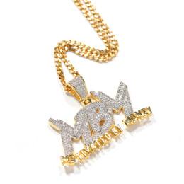 Diamanti di denaro online-Iced Out Zircon Letter Motivated By Money Collana a pendente Two Tone placcato micro pavimentato Lab Diamante Bling Hip Hop Jewelry Gift