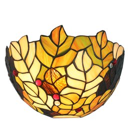 Lámparas de pared tradicionales online-30cm (12 pulgadas) Diámetro Hoja Cristal pintado Luz artesanal tradicional Lámpara de aplique de pared clásica