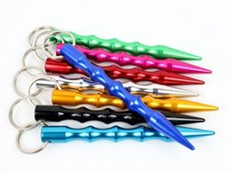 Llavero auto táctico online-8 Colores Nuevo Portátil Autodefensa Tactical Pen Protection Glass Broken Tool Lápiz antideslizante con llavero Llavero