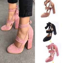 Женская обувь онлайн-Женские сандалии на толстом каблуке сзади Frenulum Туфли на высоком каблуке Лето Большой размер Повышение Non Slip Розовый Черный 38hl C1